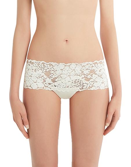 La Perla Azalea Off White Leavers Lace and Silk Georgette Shorts