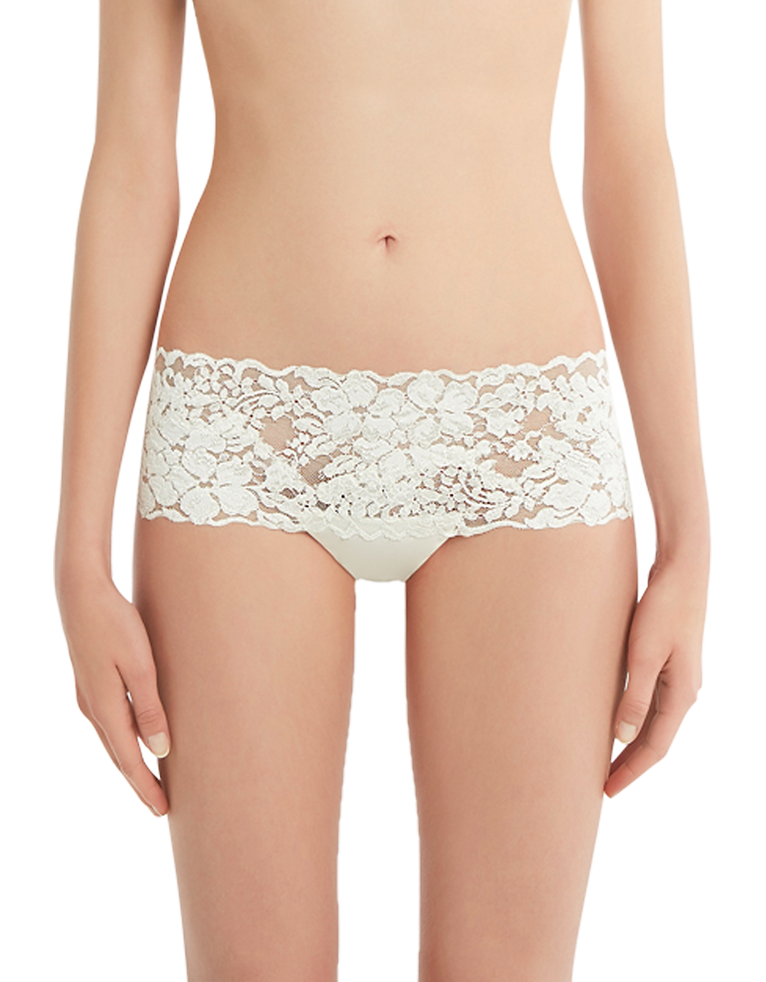 La Perla Panties, Azalea Off White Leavers Lace and Silk Georgette Shorts