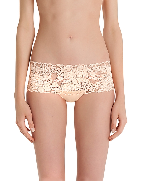 La Perla Azalea Peach Leavers Lace and Silk Georgette Shorts
