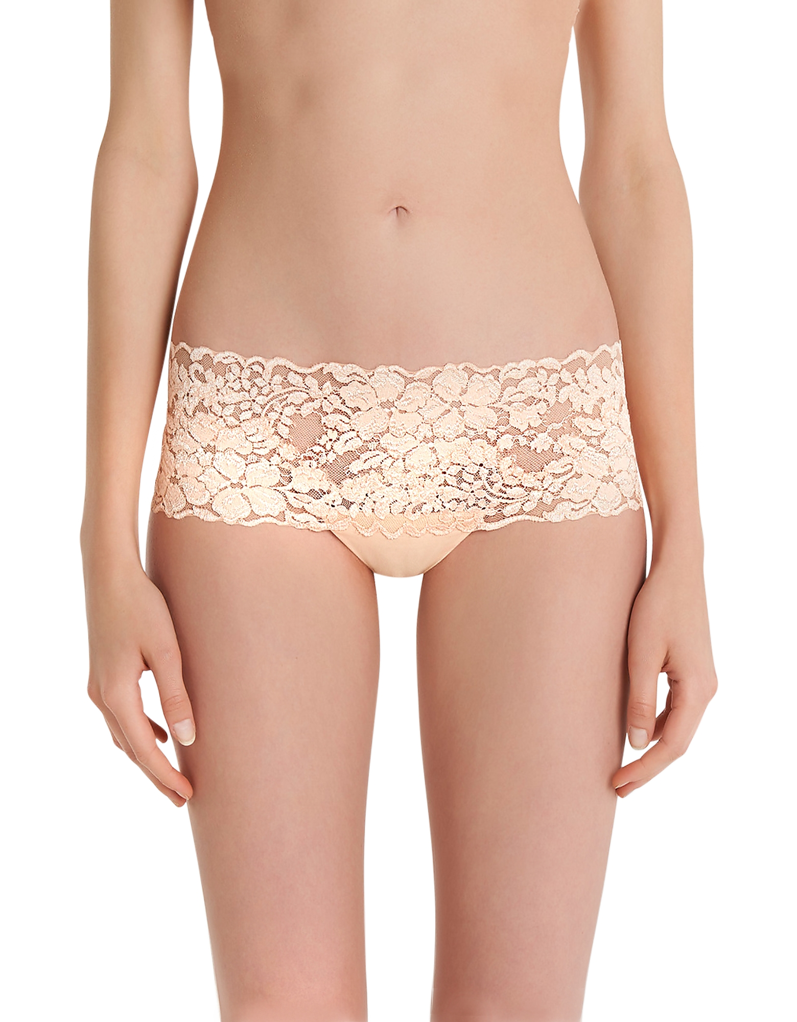 La Perla Panties, Azalea Peach Leavers Lace and Silk Georgette Shorts