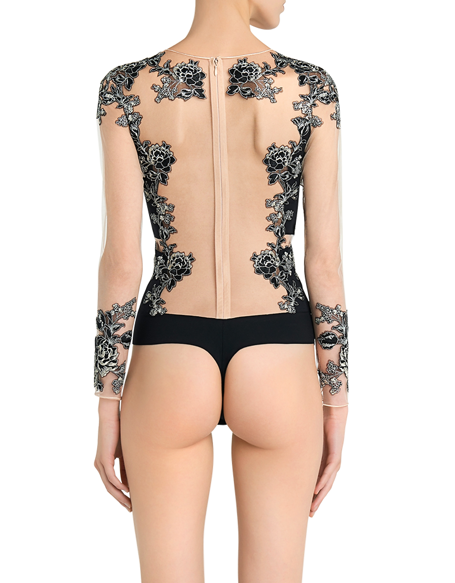 Peony Black Embroidered Stretch Tulle and Silk Georgette Bodysuit от Forzieri.com INT