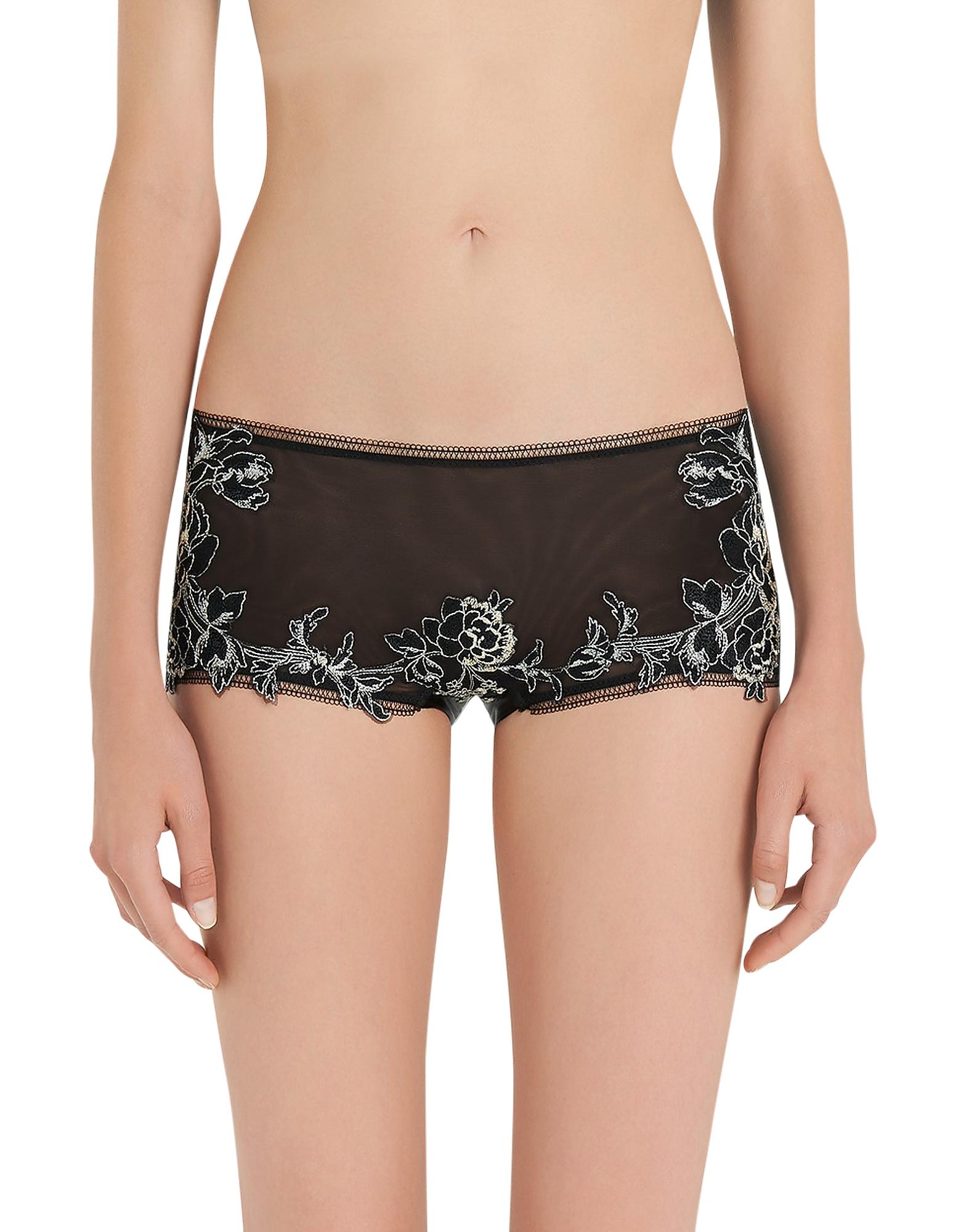 La Perla Panties, Peony Black Embroidered Tulle Briefs