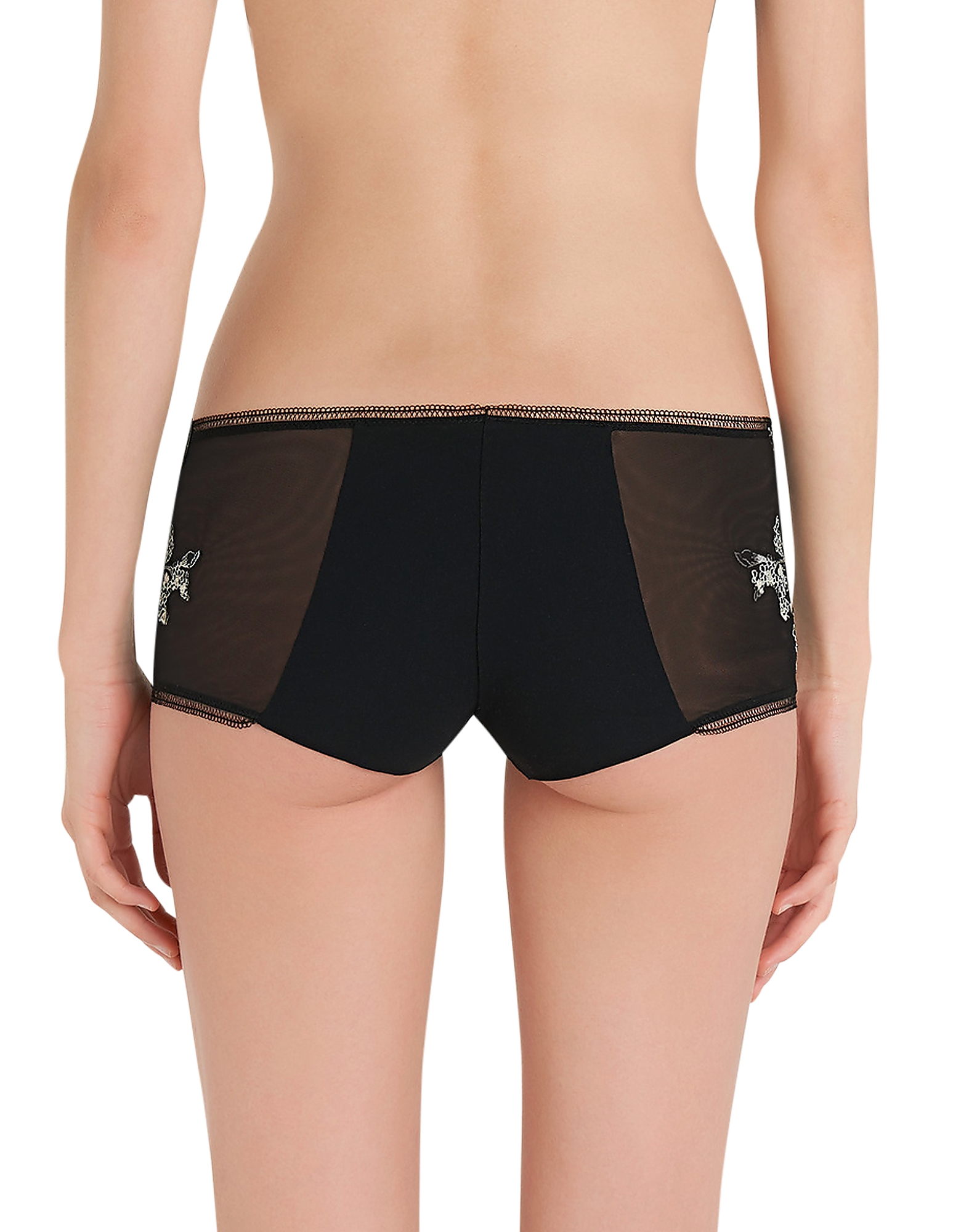 Peony Black Embroidered Tulle Briefs от Forzieri.com INT