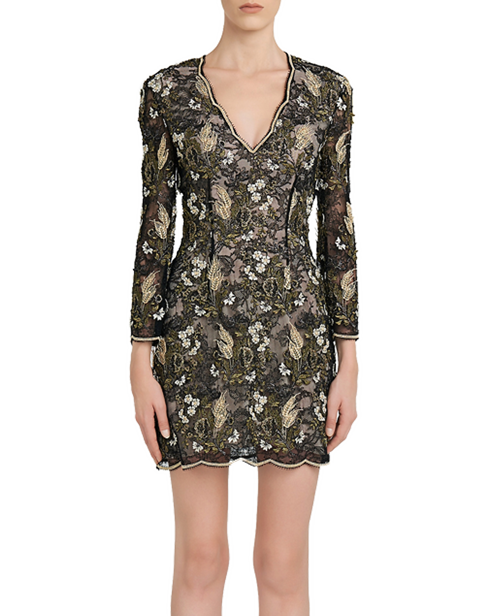Cocktail Looks Black and Gold Embroidered Lace Dress