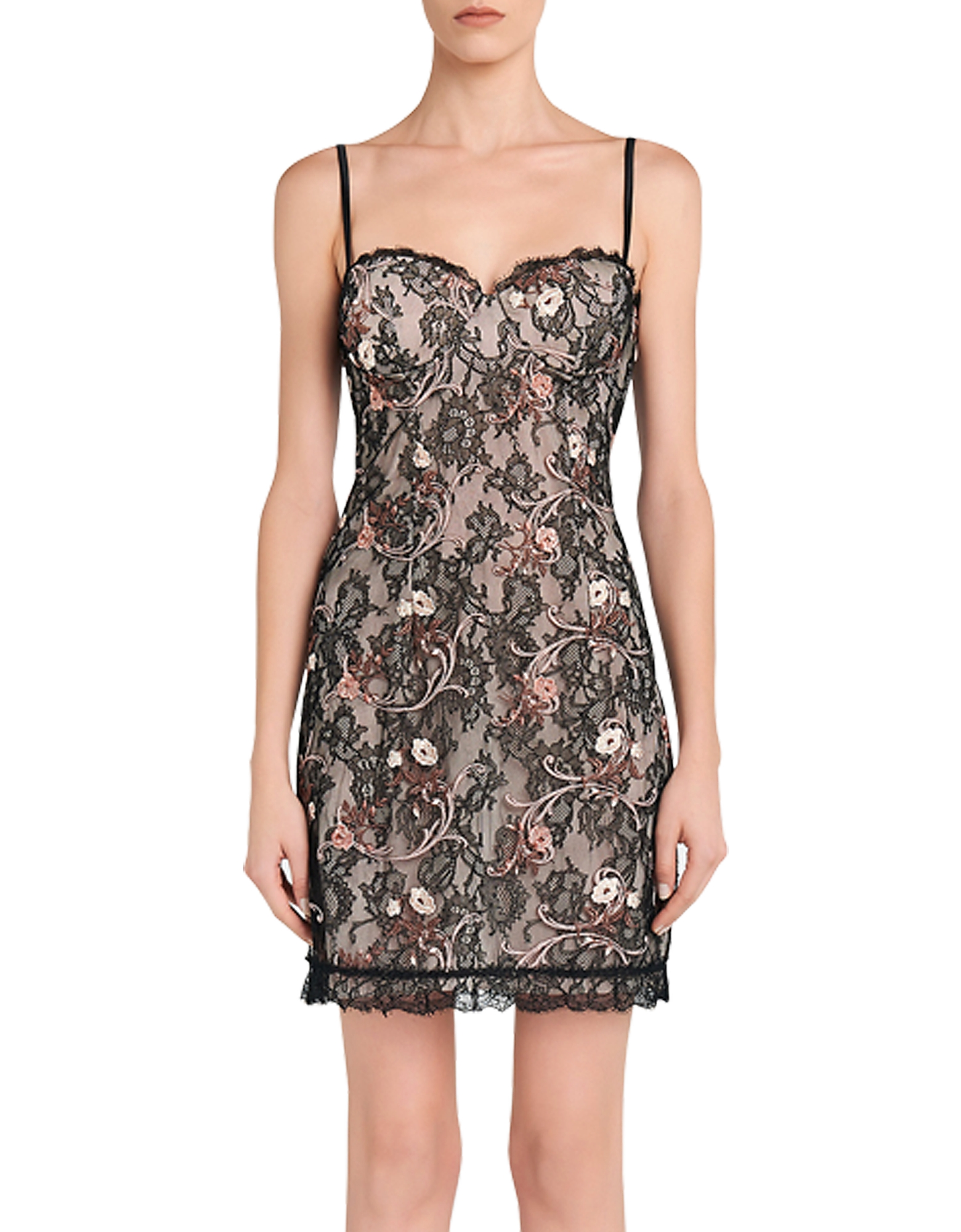 La Perla Dresses & Jumpsuits, Daily Looks Black and Pink Embroidered Lace Dress w/Built-in Bra