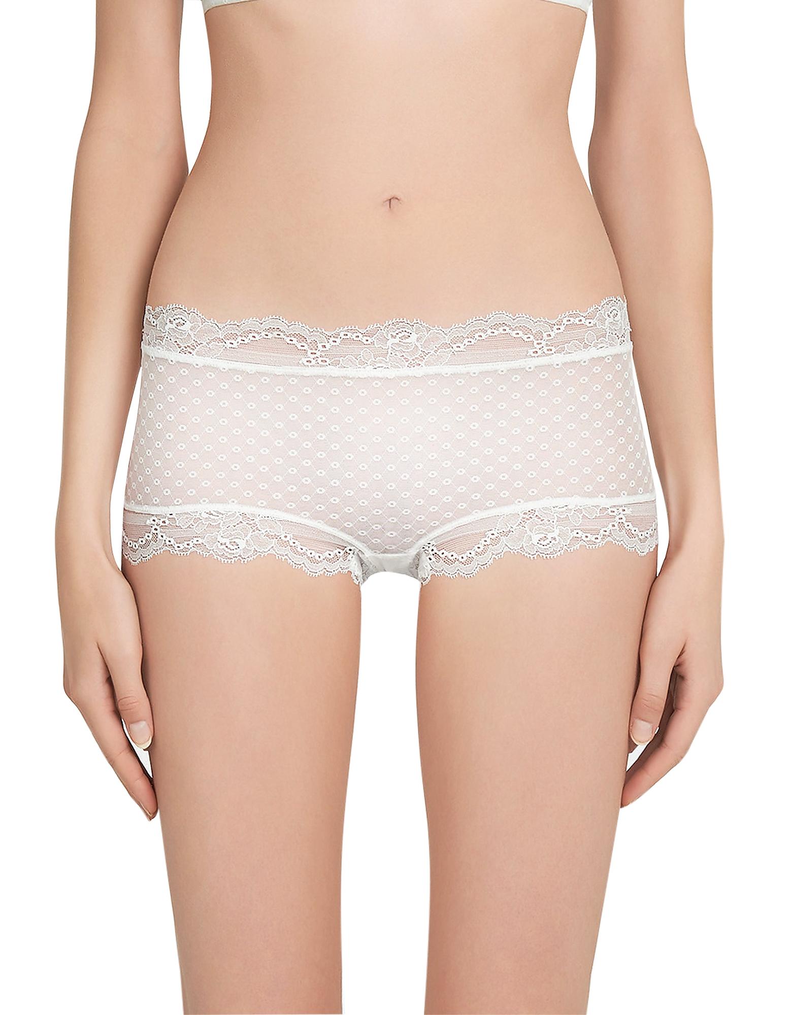 La Perla Panties, Tuberose White Leavers Lace Hipster Briefs