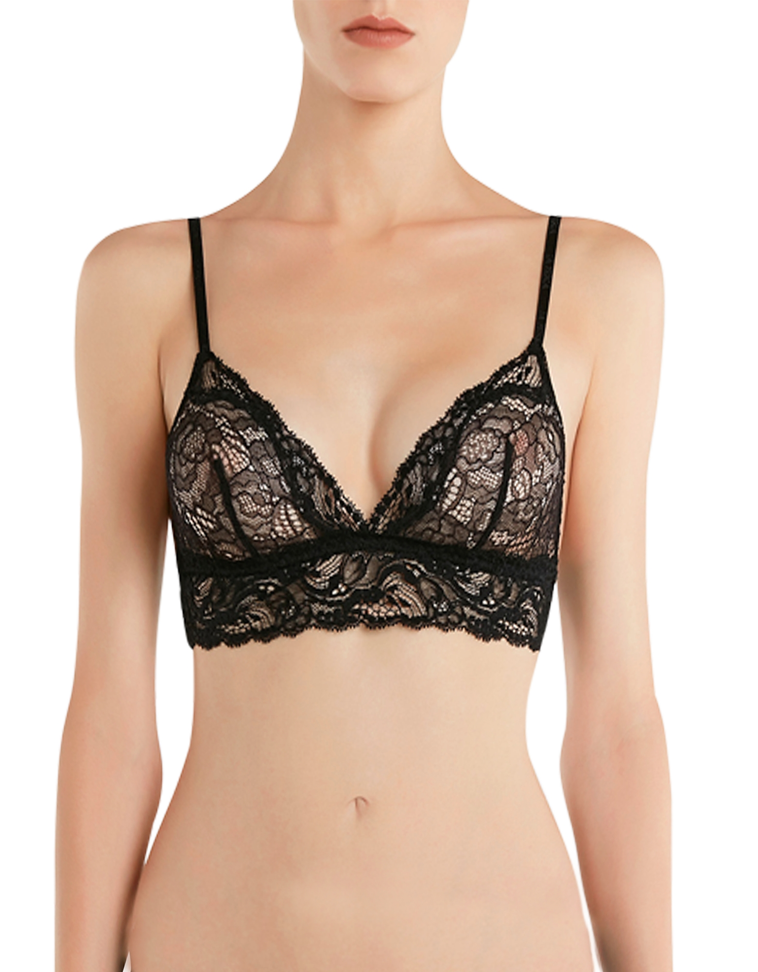 La Perla Bras, Freedom Black Stretch Leavers Lace Triangle Bra