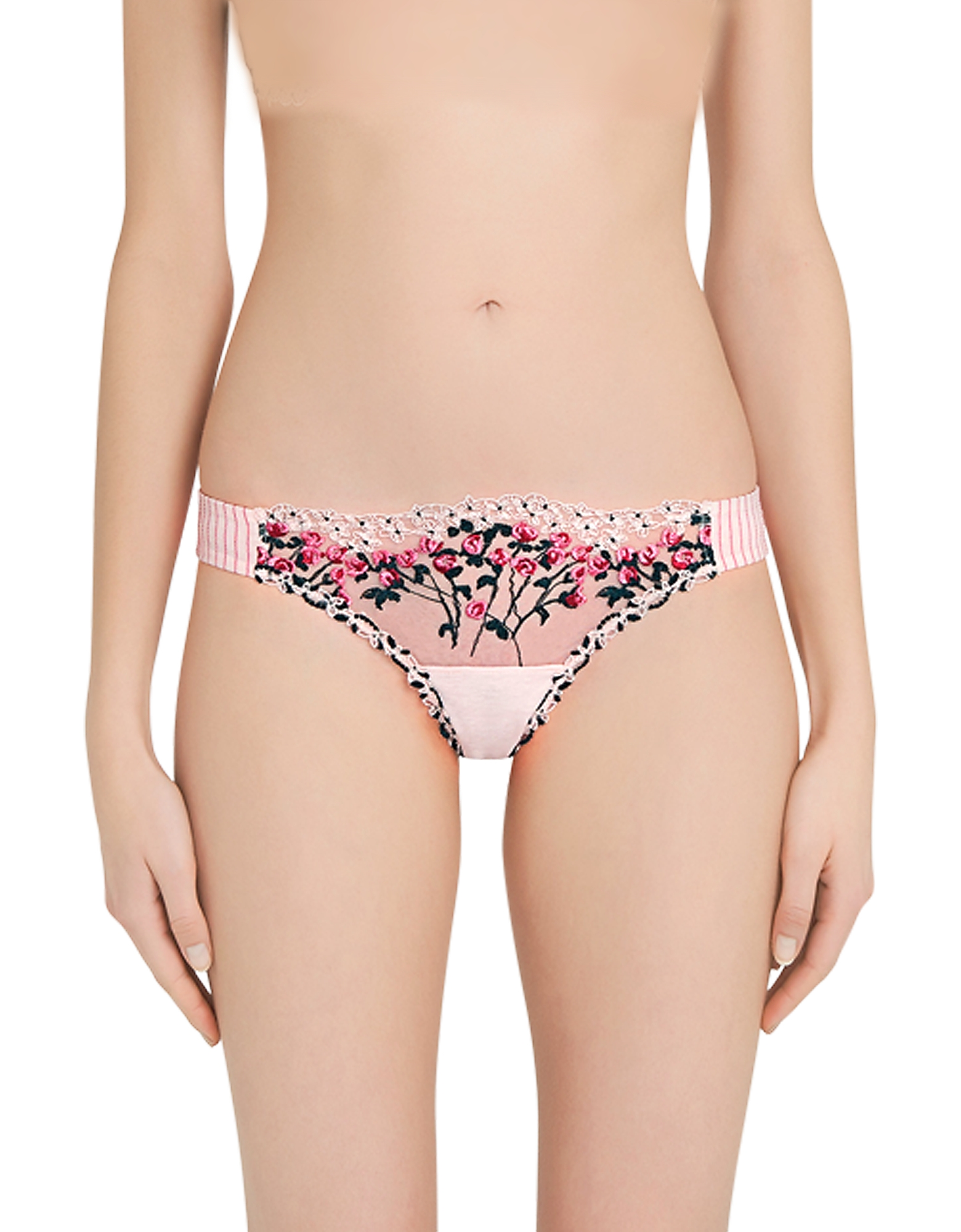La Perla Panties, Garden Party Powder Pink Embroidered Tulle and Modal Brazilian Briefs