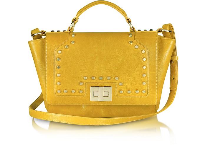 Studded Yellow Leather iPad Bag - Leonardo Delfuoco