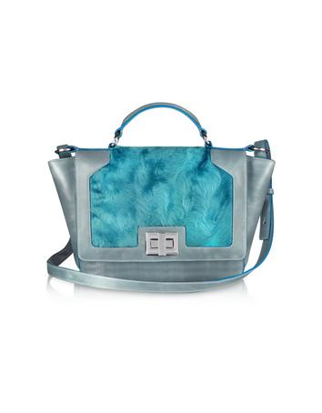 Blue Sheepskin and Gray Leather iPad Bag