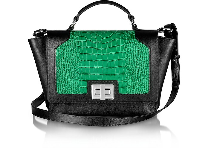 Black and Green Croco-Embossed iPad Bag - Leonardo Delfuoco
