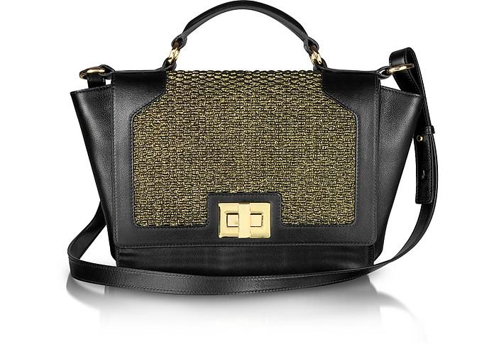 Gold Lame and Black Leather iPad Bag - Leonardo Delfuoco