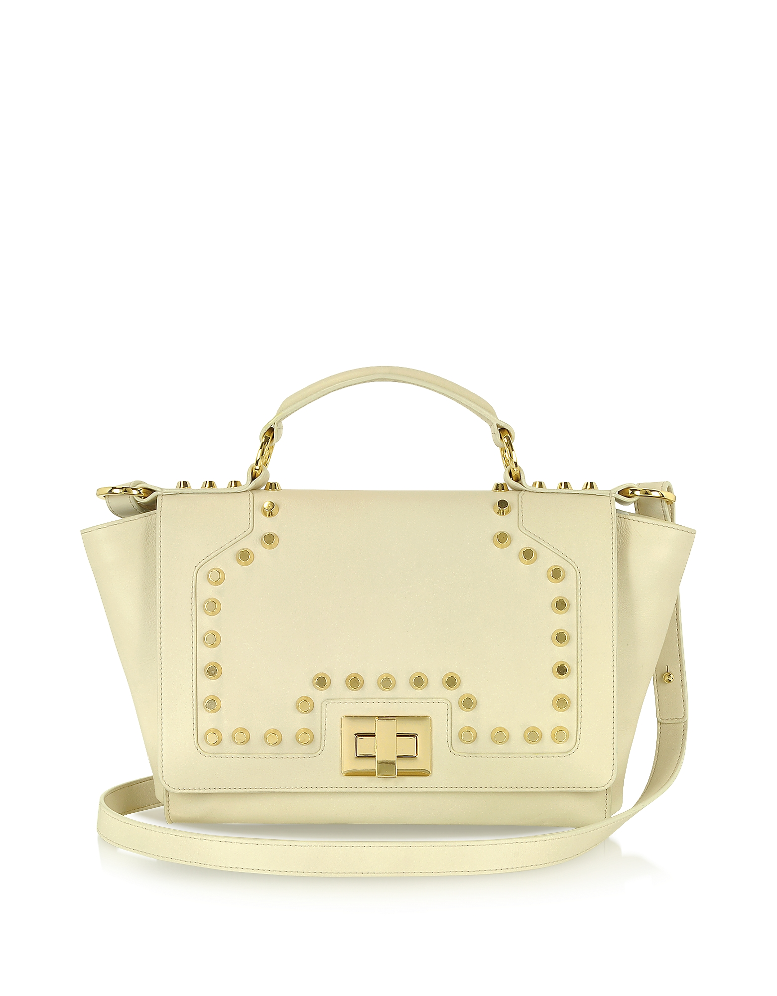 Leonardo Delfuoco Handbags, Studded Beige Leather iPad Bag