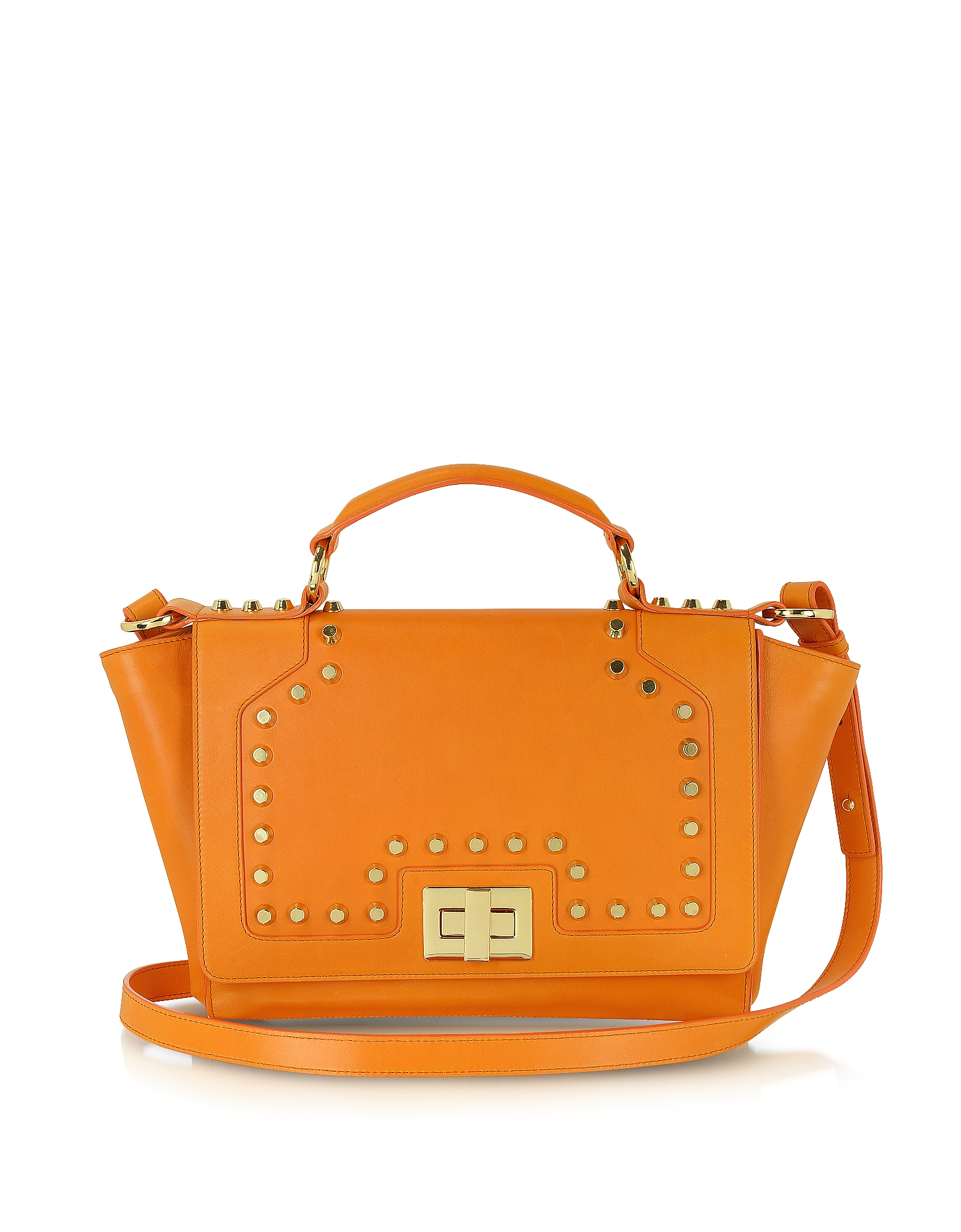 Leonardo Delfuoco Designer Handbags, Studded Orange Leather iPad Bag (Luggage & Bags) photo