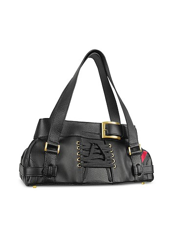 Leonardo Delfuoco Sofia - Black Leather Satchel Bag :  luxury italian handbag women womens