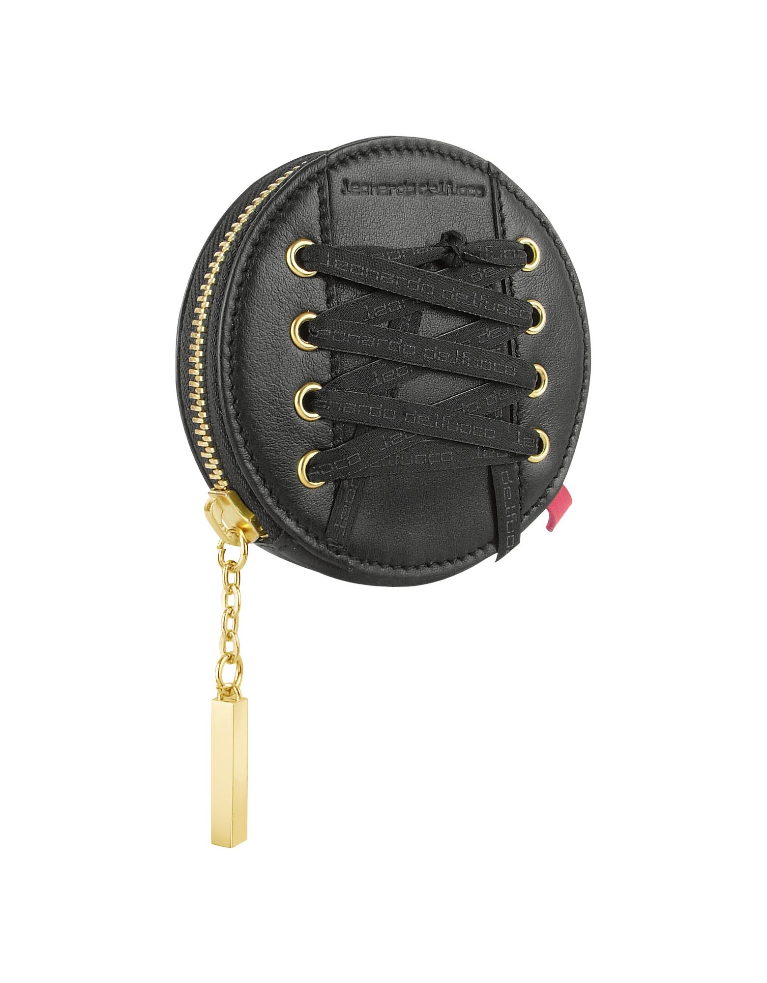 Leonardo Delfuoco  Black Round Leather Zip Around Coin Holder
