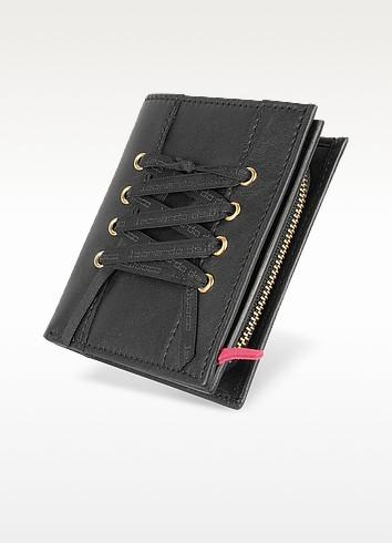 Black Leather French Purse ID Wallet - Leonardo Delfuoco