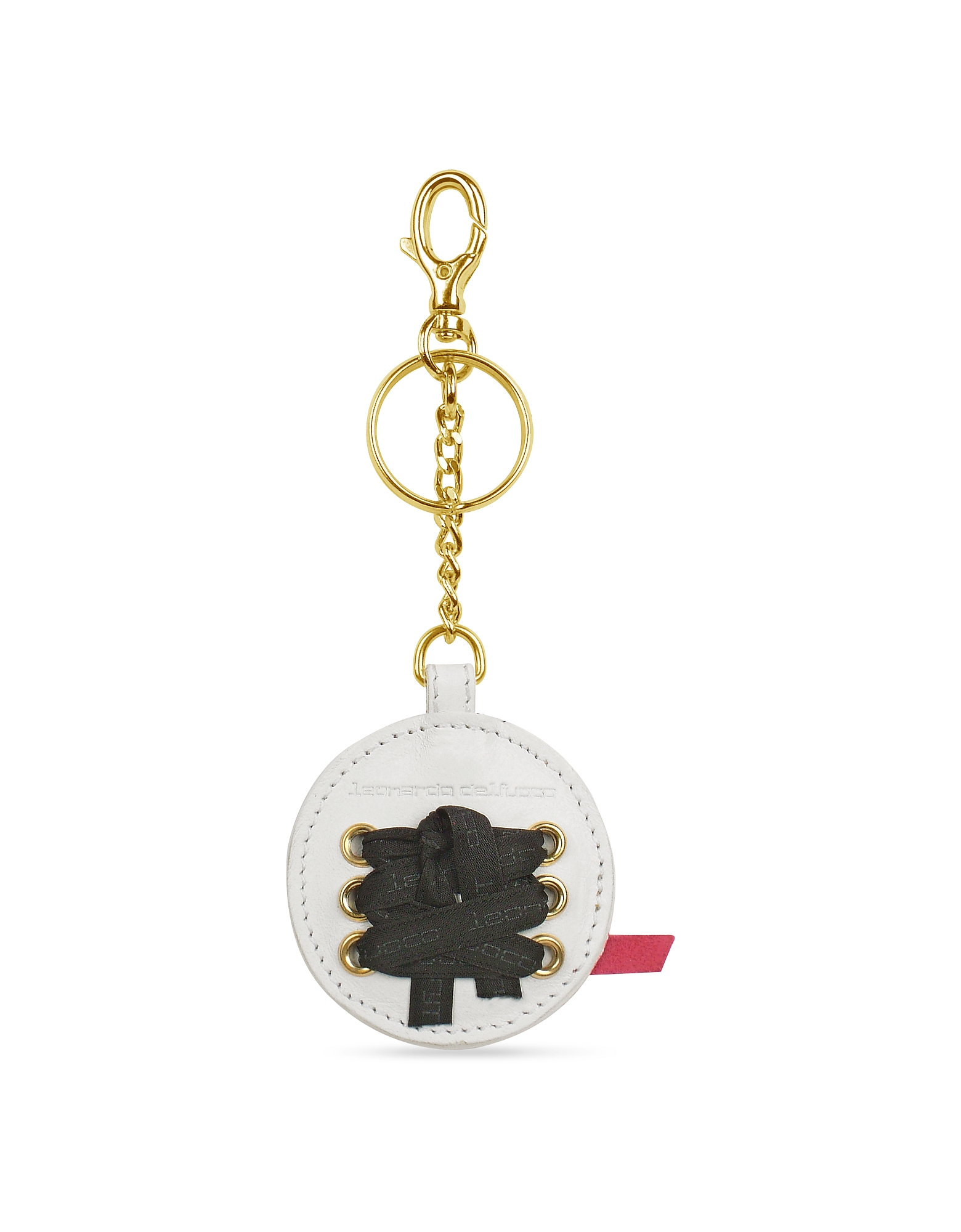 Leonardo Delfuoco Small Leather Goods, Gaia - Round Signature Key Ring
