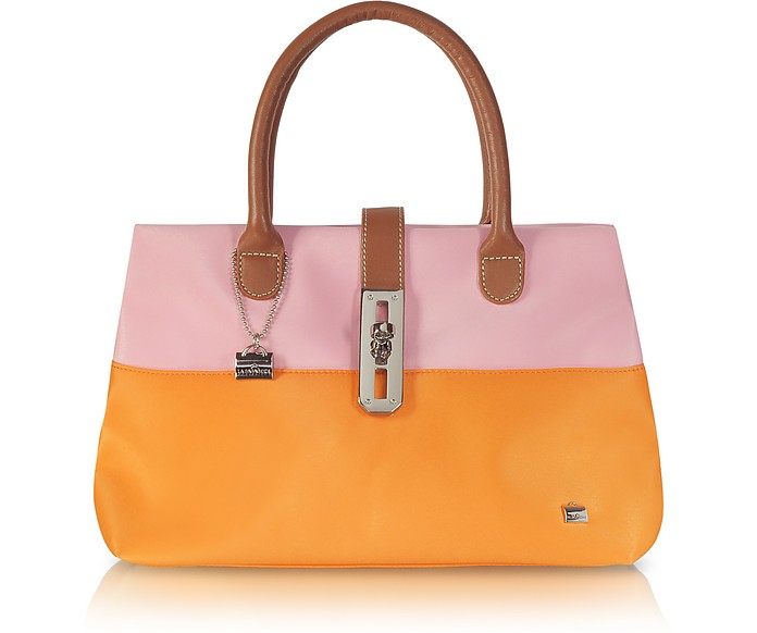 Shop X2 Pink and Orange Fabric Tote - La Bagagerie