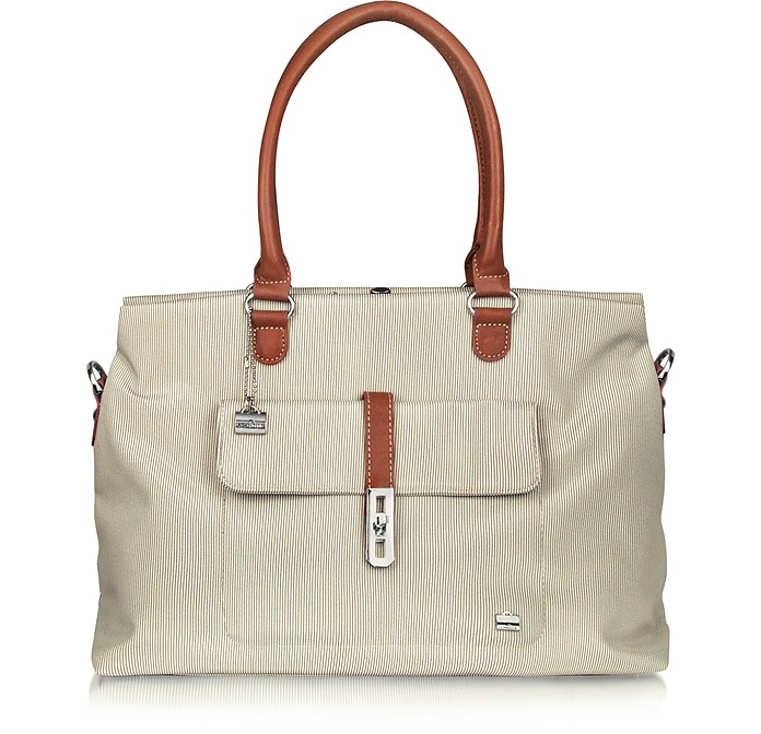 Rivage Front Pocket Fabric and Leather Tote - La Bagagerie