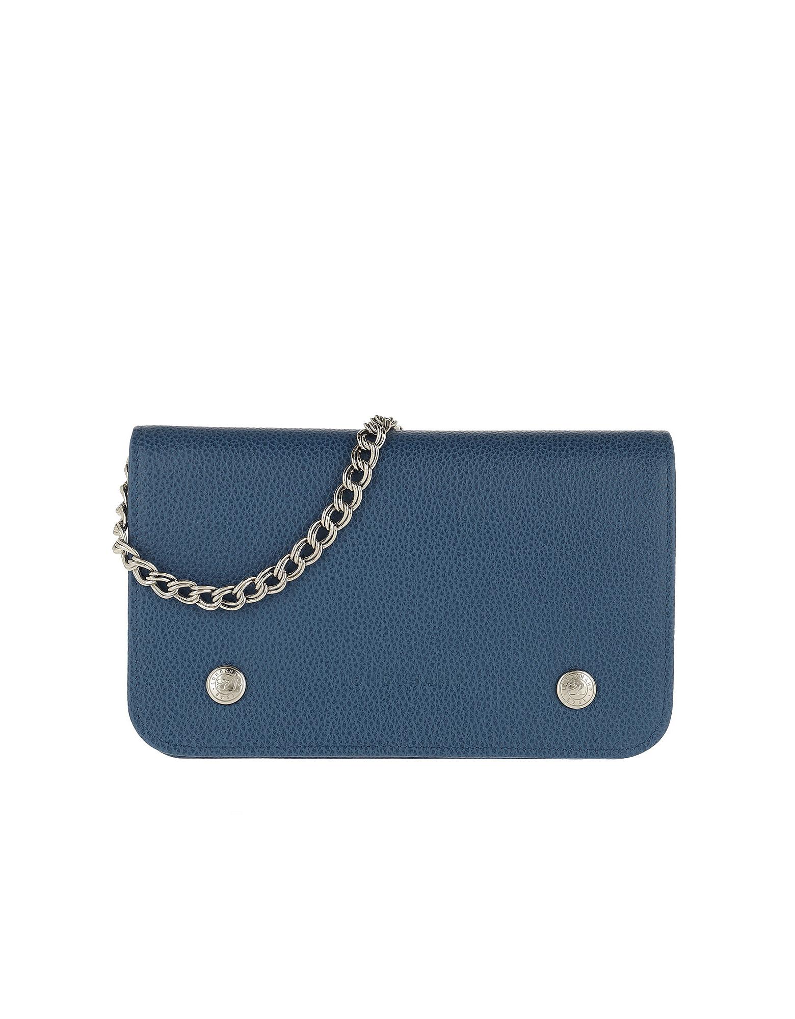 Le Foulonné Wallet On Chain Leather Sapphire