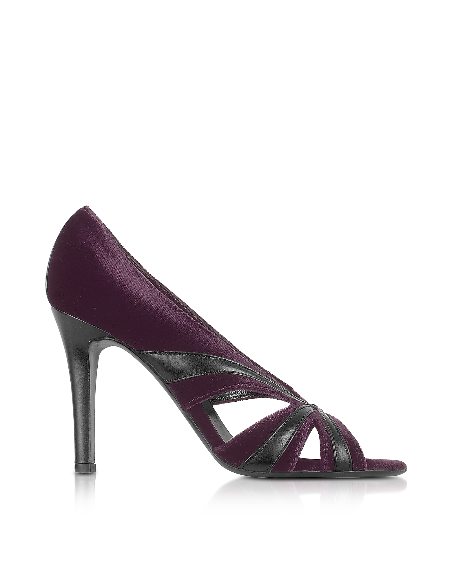 Liz Carine Designer Shoes, Purple Velvet and Leather Cut-out Evening Sandal Shoes