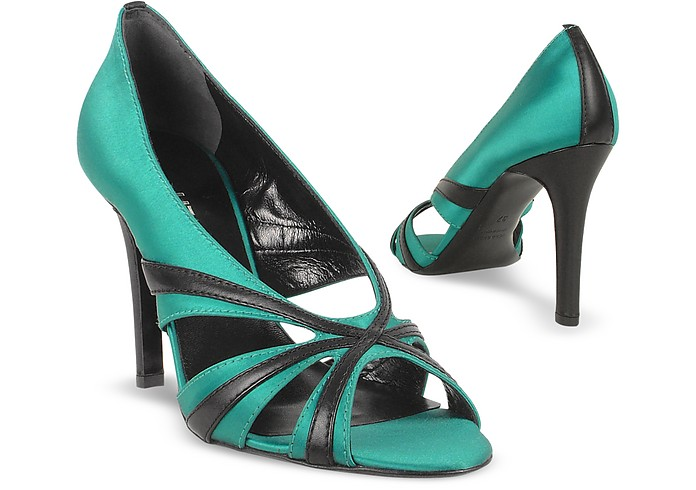 Emerald Satin and Leather Cut-out Evening Sandal Shoes - Liz Carine