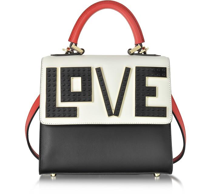 Mini Alex Black Widow Color Block Leather Handbag - Les Petits Joueurs