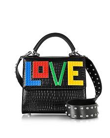 Mini Alex Rainbow Love Black Embossed leather Satchel Bag - Les Petits Joueurs