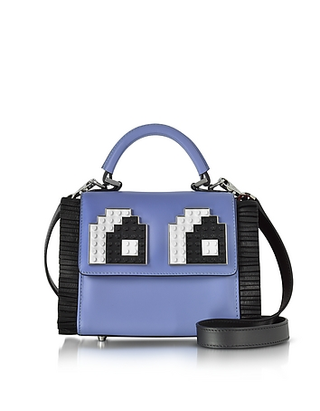 Les Petits Joueurs - Baby Alex Eyes Plisse Black and Violet Leather Satchel Bag