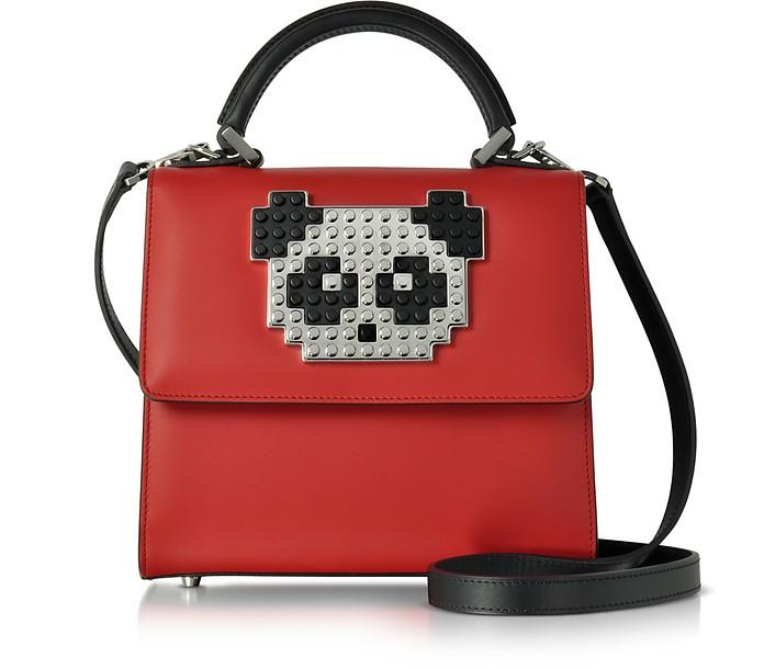 Mini Alex Metal Panda Red Leather Satchel Bag - Les Petits Joueurs