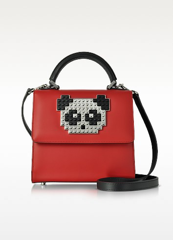 Mini Alex Metal Panda Red Leather Satchel Bag - Les Petits Joueurs