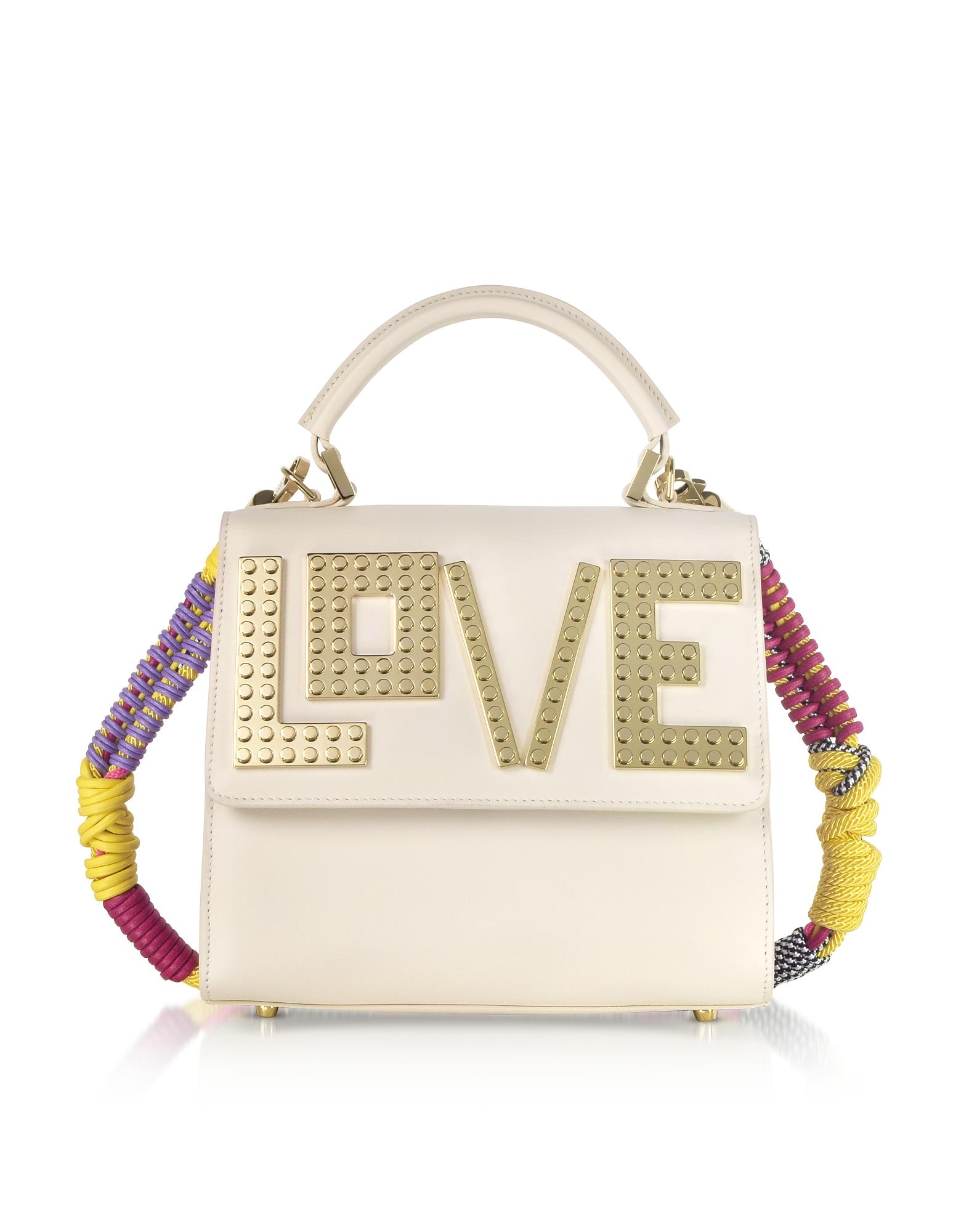LES PETITS JOUEURS Mini Alex Golden Love Satchel Bag in Beige