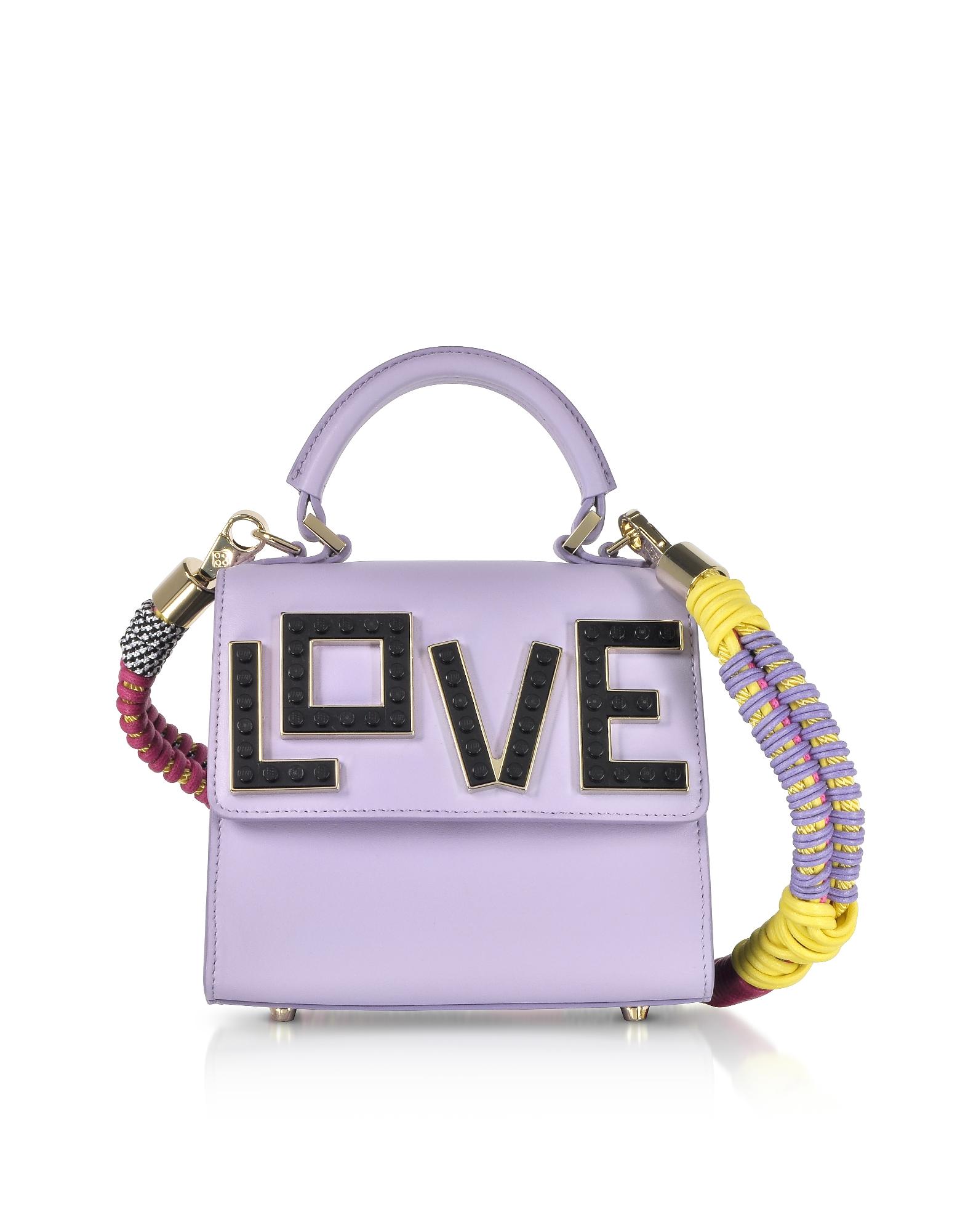 LES PETITS JOUEURS Baby Alex Black Widow Satchel Bag W/Multicolor Braid Strap in Lilac