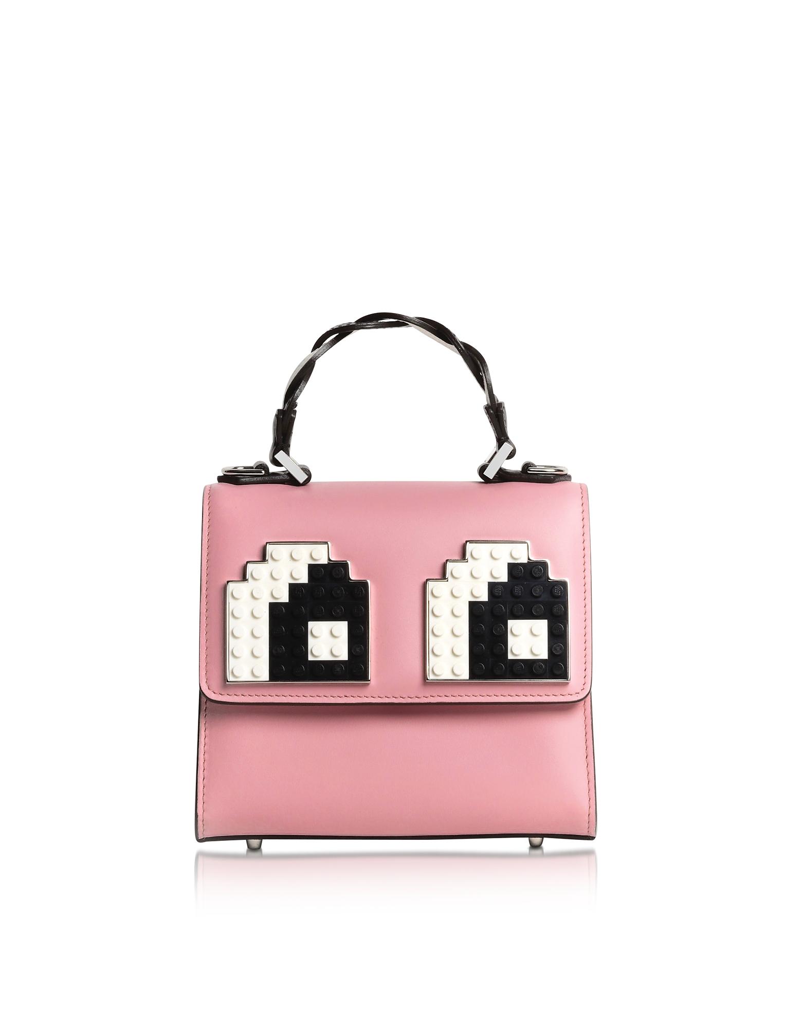 Les Petits Joueurs Handbags, Baby Alex Eyes Braid Leather Satchel Bag
