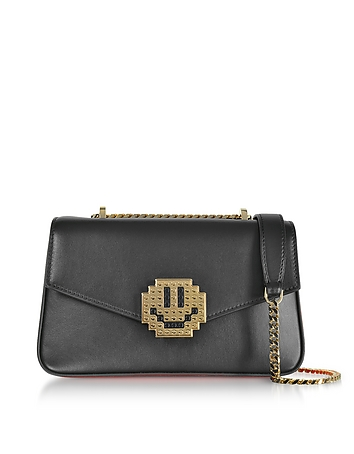 Les Petits Joueurs - Black Leather Ivy Metal Smile Shoulder Bag