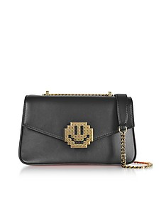 Black Leather Ivy Metal Smile Shoulder Bag - Les Petits Joueurs