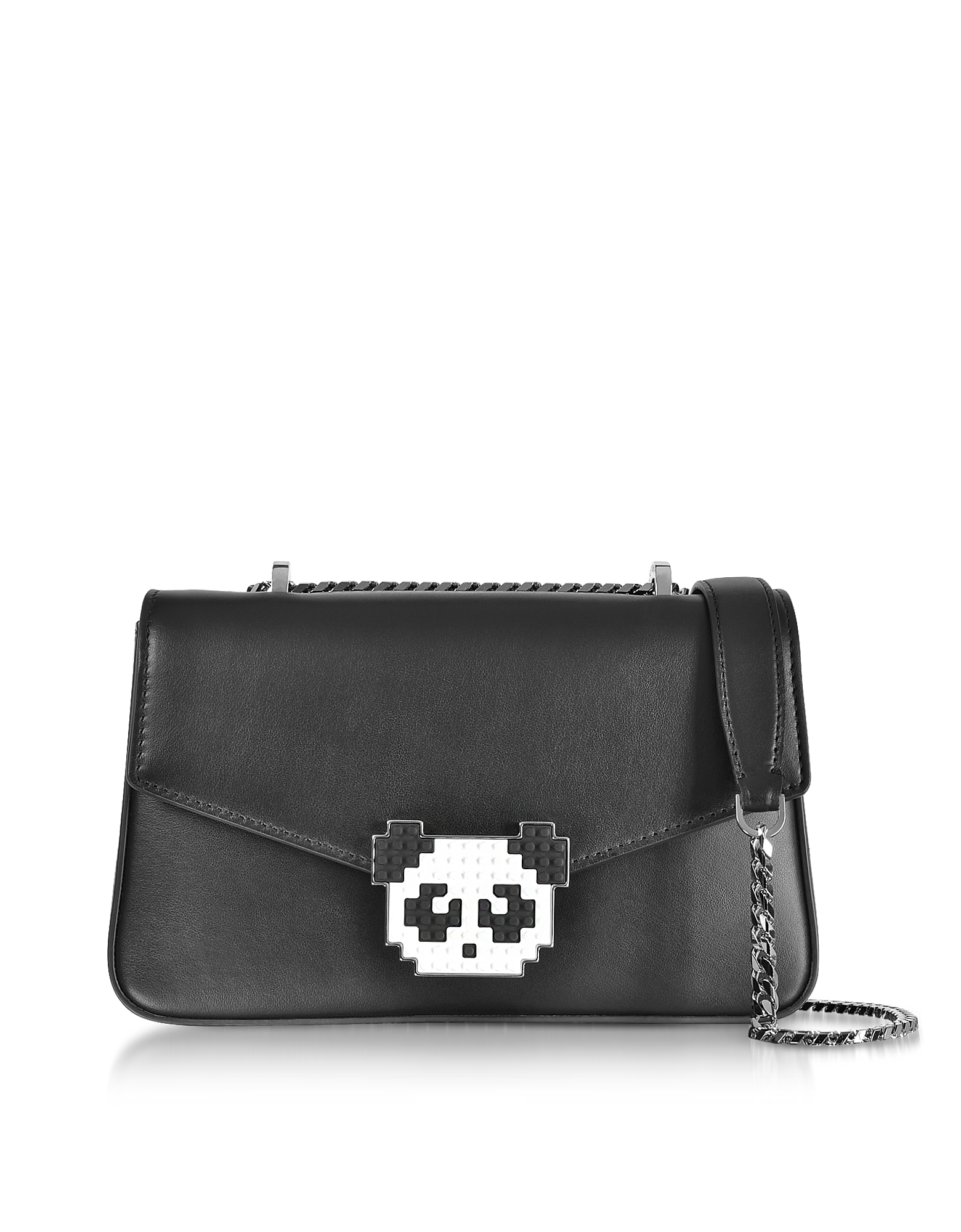 Les Petits Joueurs Handbags, Black Leather Ivy Metal Panda Shoulder Bag