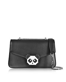 Black Leather Ivy Metal Panda Shoulder Bag - Les Petits Joueurs