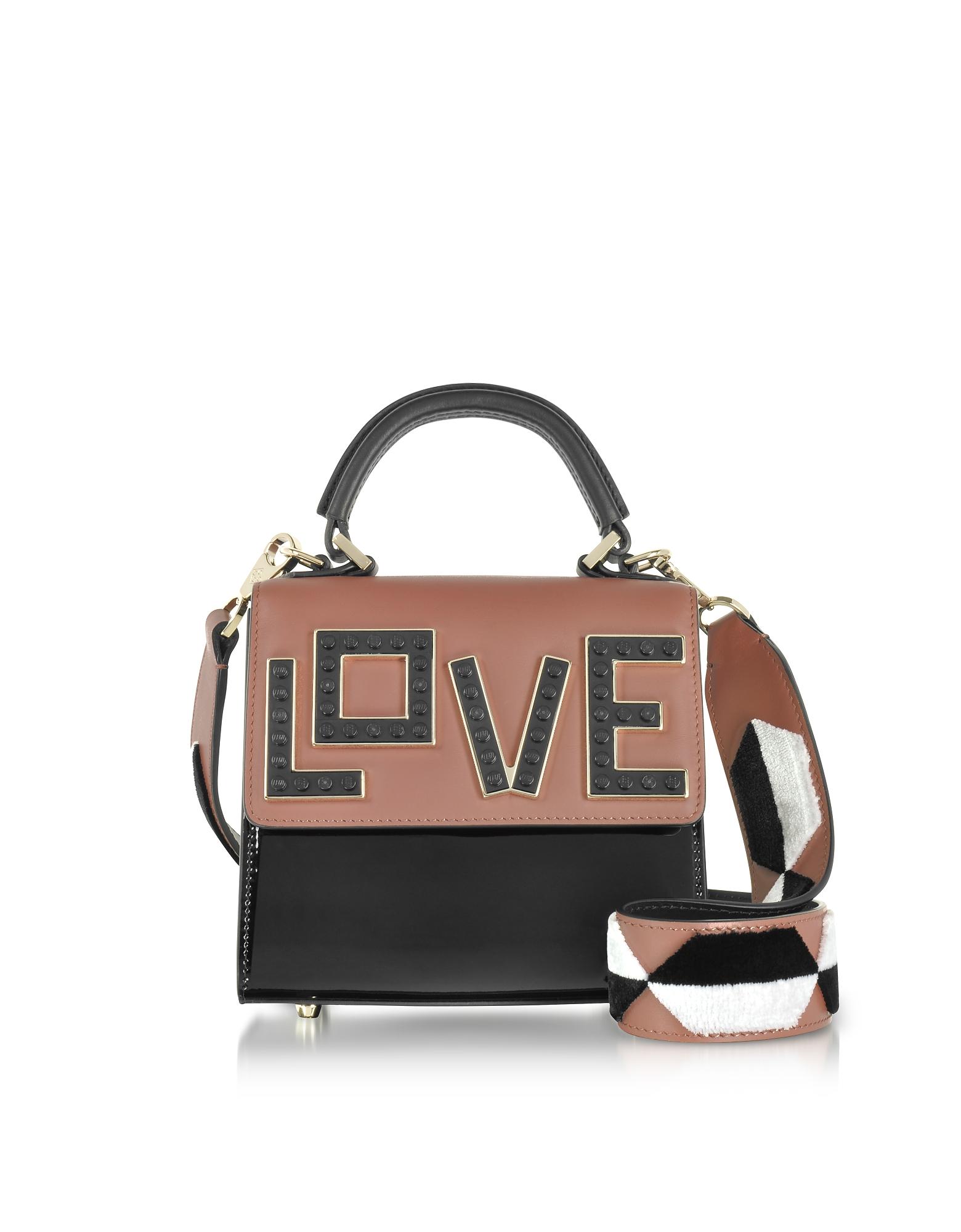Les Petits Joueurs Handbags, Baby Alex Black Widow Patent Leather Satchel Bag
