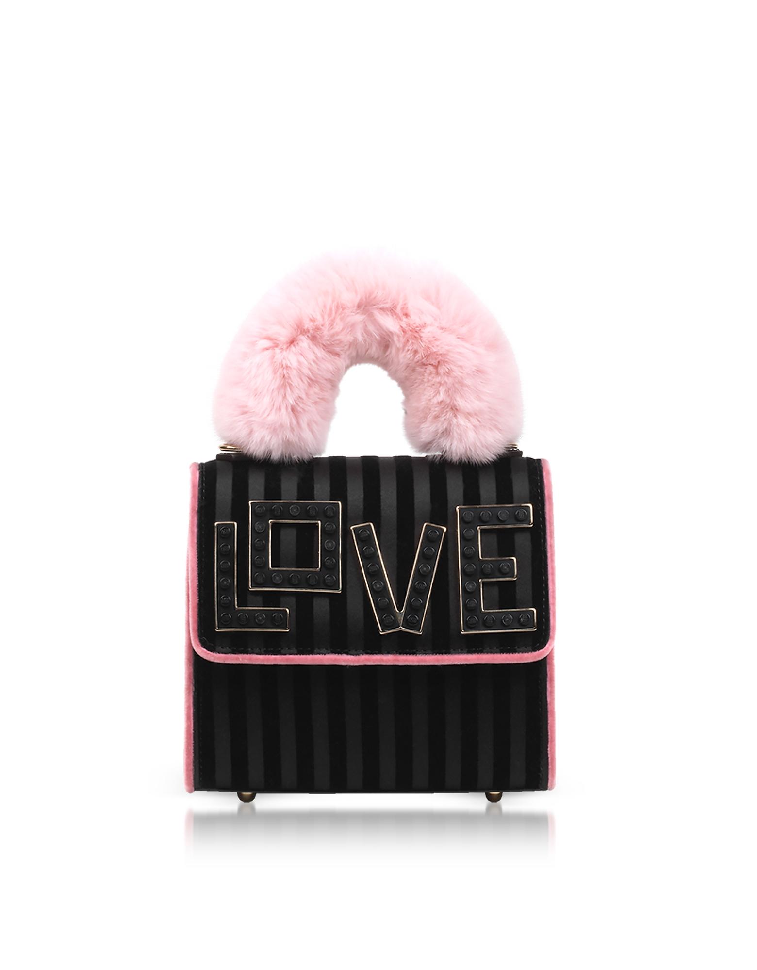 Baby Alex Black Widow Fur Handle Satchel Bag