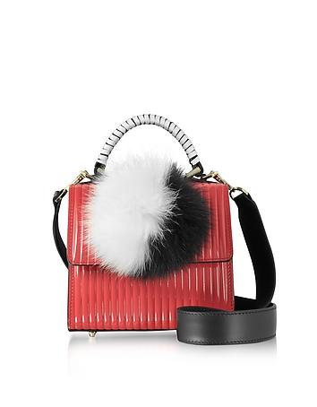 Red Pleated Leather Baby Alex Satchel w/Fur Pom-Pom
