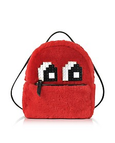 Red Merino Wool and Leather Baby Mick Eyes Backpack - Les Petits Joueurs