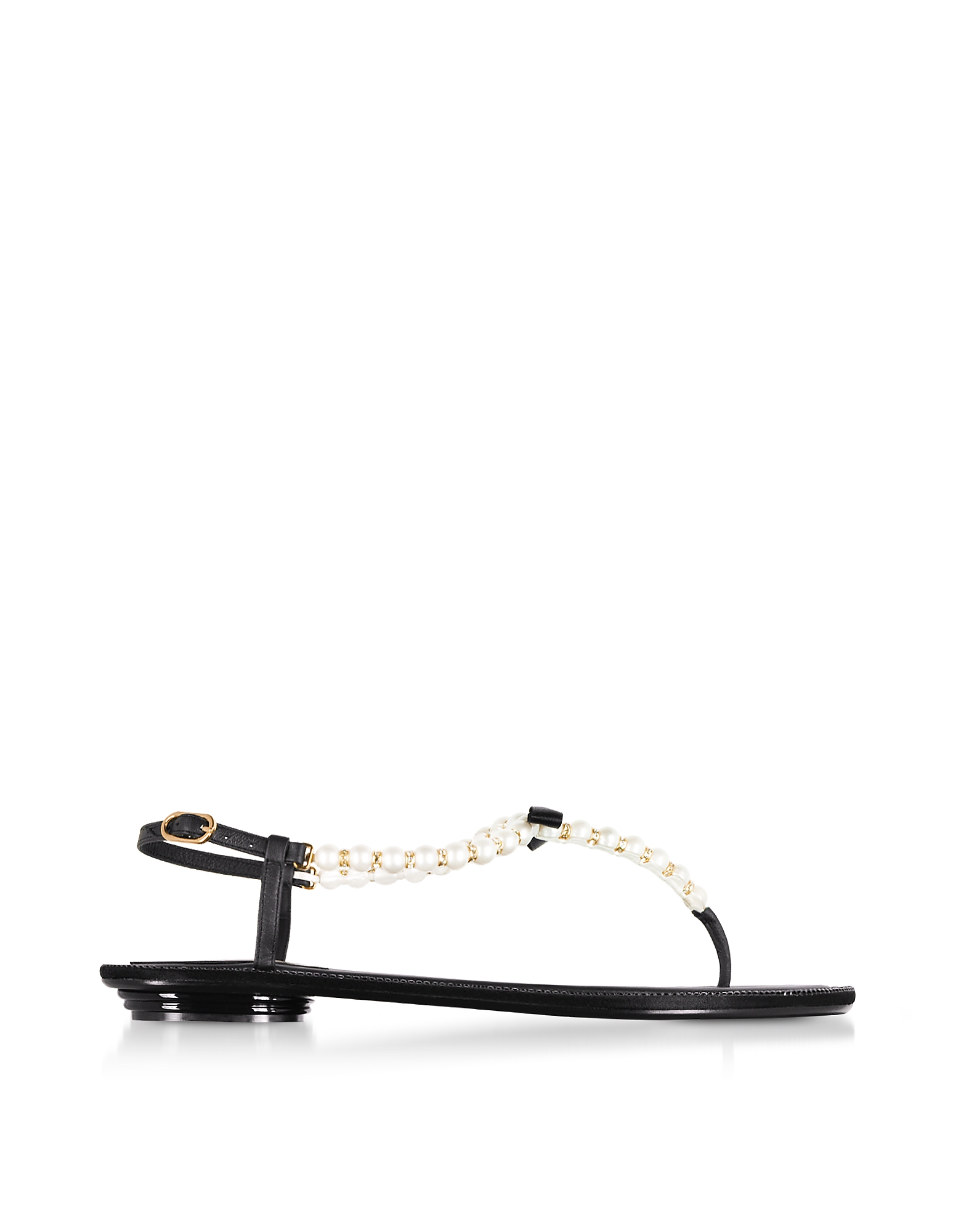 Rene Caovilla Shoes, Eliza Black Leather Sandals w/Pearls