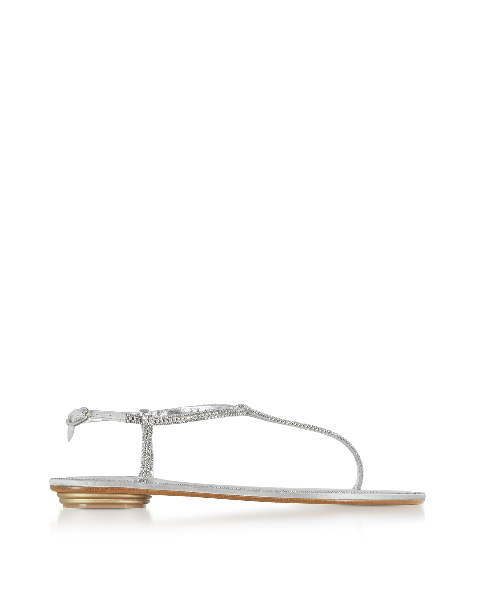 Rene Caovilla Shoes, Diana Silver Satin and Strass Flat Sandals