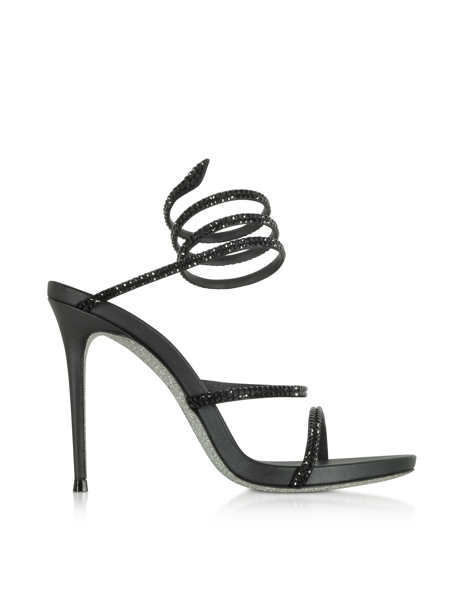Rene Caovilla Shoes, Black Satin and Strass High Heel Sandals