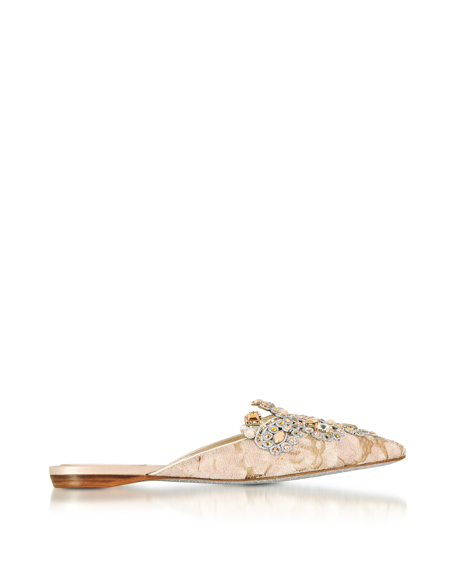 Rene Caovilla Shoes, Veneziana Beige Lace and Light Gold Nappa Mule w/Crystals