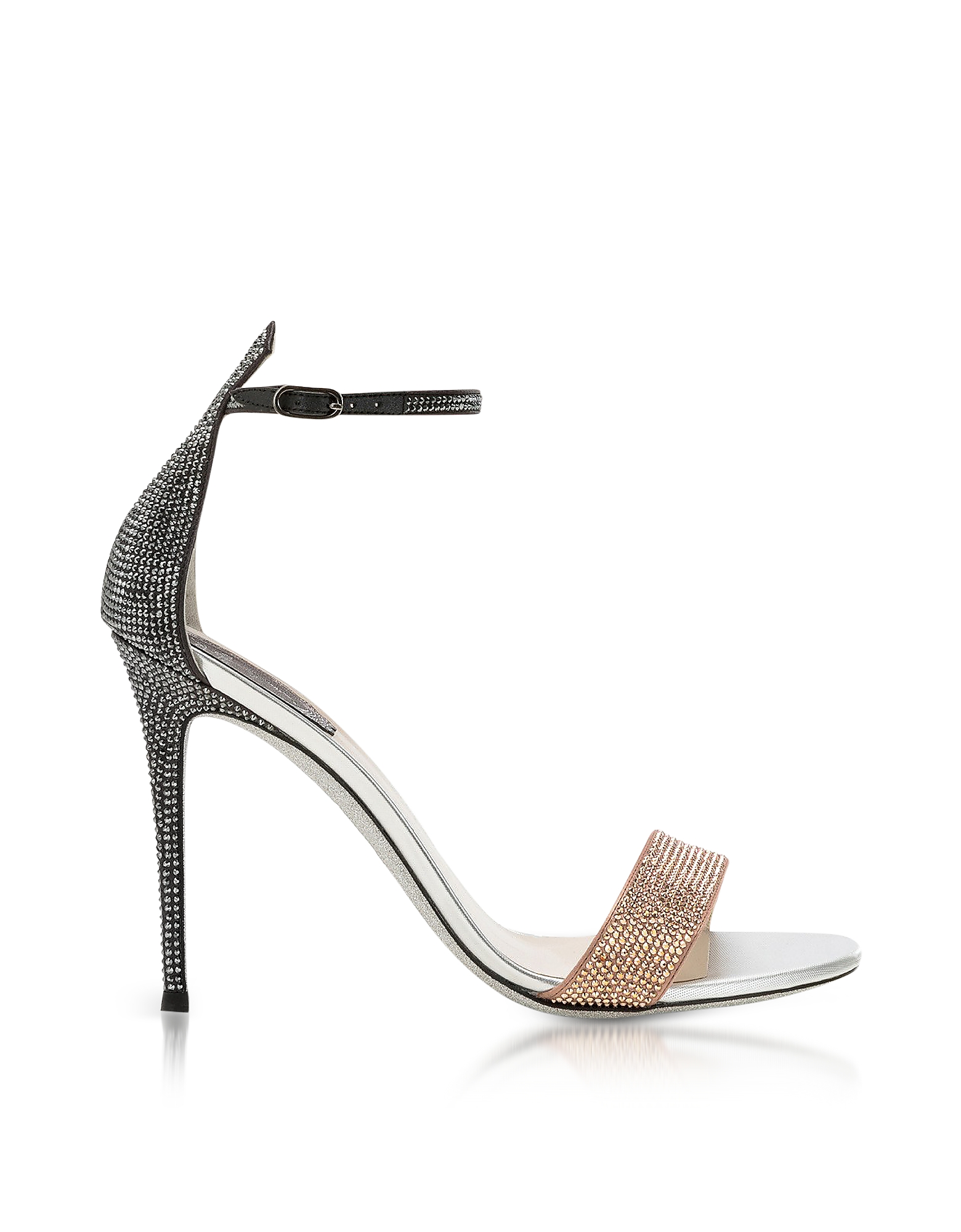 Rene Caovilla Shoes, Celebrita Two-tone Satin Sandals w/Crystals