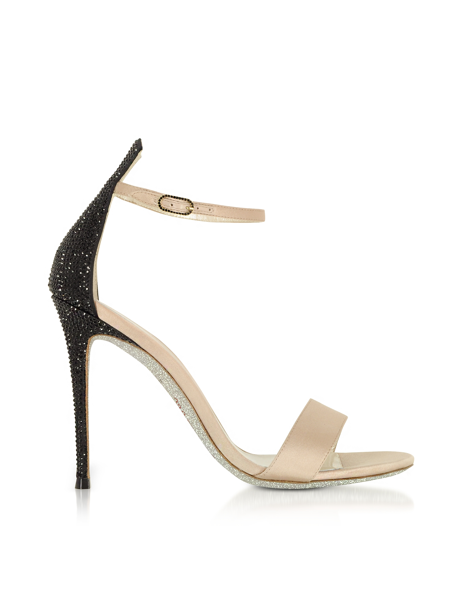 Rene Caovilla Shoes, Celebrita Nude Satin Sandals w/Black Crystals