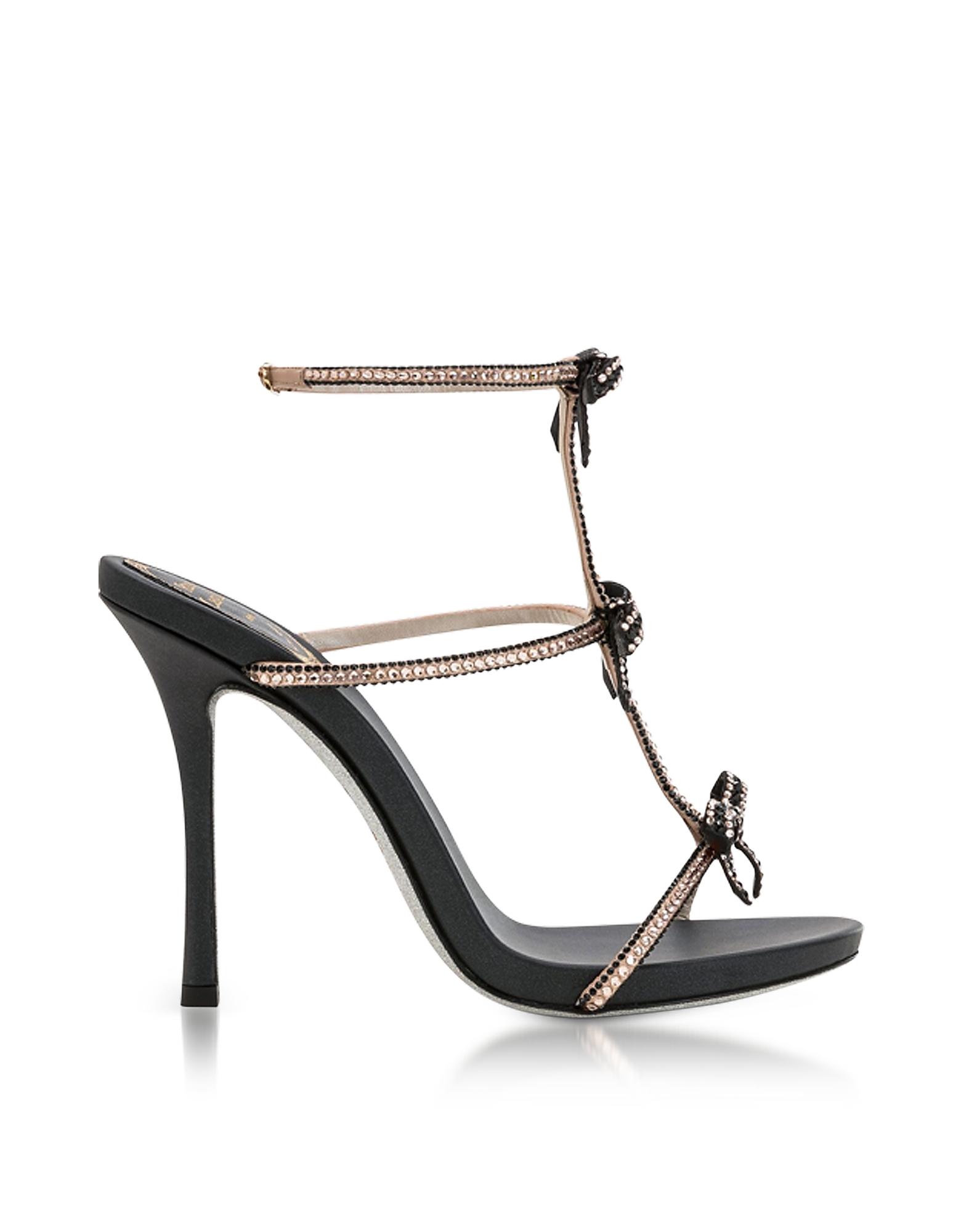 Rene Caovilla Shoes, Caterina Black/Nude Satin T-Bar Sandals w/Crystals